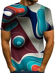 Недорогие -Муж. С принтом Футболка Уличный стиль / преувеличены Контрастных цветов / 3D / Графика Цвет радуги US40
