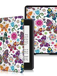 Недорогие -Кейс для Назначение Amazon Kindle Lite (2019) / Kindle PaperWhite 4 2018 Защита от удара / Флип / Ультратонкий Чехол Бабочка Твердый Кожа PU