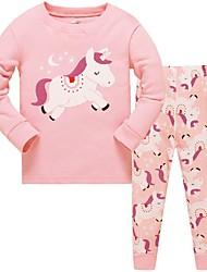 Недорогие -Дети Девочки Горошек Пижамы Розовый