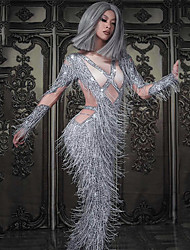 economico -Dancewear esotico Tute da sera / Costume da Club Per donna Prestazioni Elastene Nappa / Cristalli / Strass Manica lunga Calzamaglia / Pigiama intero