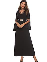 Χαμηλού Κόστους -Παραδοσιακή & Πολιτιστική Φορά Φορέματα Γυναικεία Καθημερινά Ρούχα Πολυεστέρας Διαφορετικά Υφάσματα Μακρυμάνικο Φόρεμα