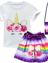 abordables -Enfants Bébé Fille Actif Chic de Rue Fleur Bande dessinée Manches Courtes Normal Normal Coton Polyester Ensemble de Vêtements Violet
