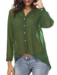 billige -Dame - Ensfarvet Basale Skjorte Grøn US10