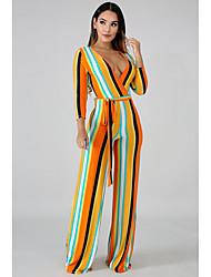 preiswerte -Damen Orange Overall, Gestreift mit Schnürung M L XL