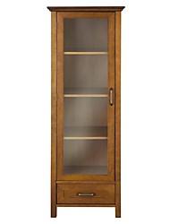 Недорогие -дубовая отделка льняная башня стеклянная дверь шкаф для ванной с ящиком