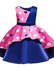 abordables -Enfants Bébé Fille Basique Doux Cœur Noeud Mosaïque Imprimé Sans Manches Mi-long Coton Robe Rose Claire