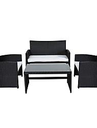 Недорогие -черный смолистый плетеный 4-местный уличный набор мебели для патио с белыми мягкими подушками сидений