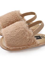 ราคาถูก -เด็กผู้หญิง ขนเทียม รองเท้าแตะ ทารก (0-9m) / เด็กวัยหัดเดิน (9m-4ys) สำหรับการเดินครั้งแรก สีน้ำตาล / สีชมพู / Drak Red ฤดูร้อน