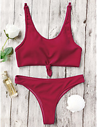 abordables -Mujer Blanco Rojo Bleu Ciel Bikini Bañadores - Un Color S M L Blanco