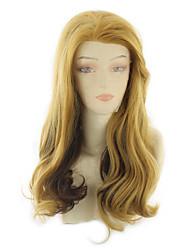povoljno -Perike s ljudskom kosom Tijelo Wave Stil Srednji dio Lace Front Perika Zlatna Žuta Sintentička kosa 24 inch Žene Žene Zlatna Perika Dug Prirodna perika