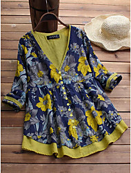 preiswerte -Damen Blumen Hemd Gelb US6