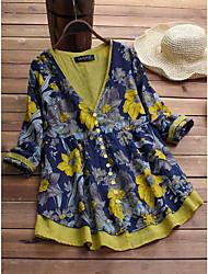 baratos -Mulheres Camisa Social Floral Amarelo US6