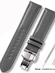 Недорогие -Настоящая кожа / Кожа / Шерсть теленка Ремешок для часов Ремень для Серый 17см / 6,69 дюйма / 18cm / 7 дюймы / 19cm / 7.48 дюймы 1cm / 0.39 дюймы / 1.2cm / 0.47 дюймы / 1.3cm / 0.5 дюймы
