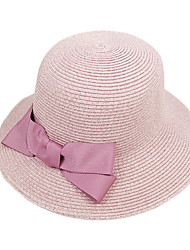 Недорогие -Жен. Активный Классический Симпатичные Стиль Шляпа от солнца Солома,Однотонный Лето Темно синий Серый Хаки