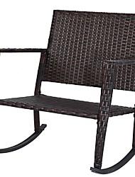 Недорогие -уличные 3-х частей ротанговые кресла-качалки и столовый набор с красными подушками