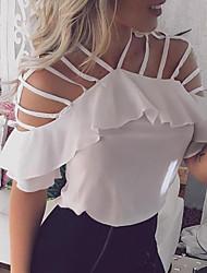 preiswerte -Damen Solide T-shirt Weiß US4