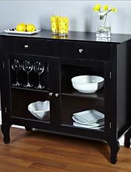 Недорогие -черный столовая буфет сервант шкаф со стеклянными дверцами