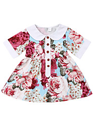 cheap -Kids Toddler Girls' Active Sweet Floral Print Short Sleeve Above Knee Cotton Polyester Dress Red