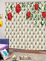 Недорогие -3d цифровая печать на заказ полиэстер современная конфиденциальность две панели занавес для спальни гостиной декоративные шторы