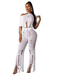 ราคาถูก -เสื้อผ้าเต้นรำที่แปลกใหม่ Outfits สำหรับผู้หญิง Performance Tulle / นิต พู่ แขนสั้น ธรรมชาติ Top / กางเกง