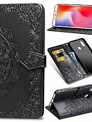 Недорогие -Кейс для Назначение Xiaomi Xiaomi Mi Play / Xiaomi Mi Max 3 / Xiaomi Mi 8 Lite Кошелек / Бумажник для карт / Флип Чехол Цветы Твердый Кожа PU / ТПУ