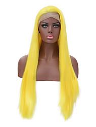halpa -Aitohiusperuukit verkolla Runsaat laineet Tyyli Keskiosa Lace Front Peruukki Ombre Keltainen Synteettiset hiukset 26 inch Naisten Naisten Ombre Peruukki Pitkä Luonnollinen peruukki