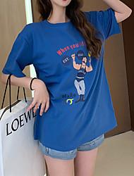billige -Dame - Ensfarvet / Tegneserie / Bogstaver Net / Patchwork Gade / Elegant T-shirt Blå US6