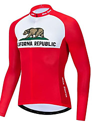 Недорогие -21Grams Калифорния Муж. Длинный рукав Велокофты - Красный / Белый Велоспорт Джерси Верхняя часть Дышащий Влагоотводящие Быстровысыхающий Виды спорта Терилен Горные велосипеды Одежда / Слабоэластичная