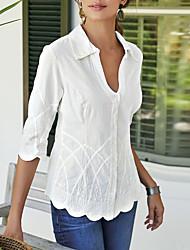 Недорогие -Жен. Блуза V-образный вырез Однотонный Белый