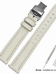 Недорогие -Настоящая кожа / Кожа / Шерсть теленка Ремешок для часов Ремень для Белый 17см / 6,69 дюйма / 18cm / 7 дюймы / 19cm / 7.48 дюймы 1.2cm / 0.47 дюймы / 1.3cm / 0.5 дюймы / 1.4cm / 0.55 дюймы