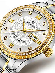 Недорогие -Муж. Нарядные часы С автоподзаводом Стильные Нержавеющая сталь Серебристый металл / Золотистый 30 m Календарь Фосфоресцирующий День дата Аналоговый Элегантный стиль -