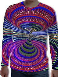 Недорогие -Муж. С принтом Футболка Уличный стиль / Панк & Готика Контрастных цветов / 3D / Графика Цвет радуги