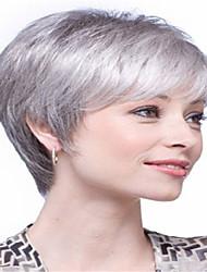 povoljno -Perike s ljudskom kosom Kinky Ravno Stil Srednji dio Capless Perika Smeđa Bijela Sintentička kosa 14 inch Žene Žene Smeđa Perika Dug Prirodna perika