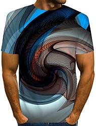 Недорогие -Муж. С принтом Футболка Уличный стиль / преувеличены Контрастных цветов / 3D / Графика Синий US40
