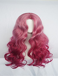 povoljno -Perike s ljudskom kosom Tijelo Wave Stil Srednji dio Lace Front Perika Crvena Pink + Red Sintentička kosa 26 inch Žene Žene Crvena Perika Dug Prirodna perika