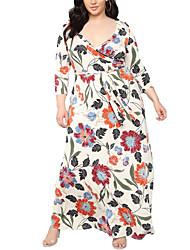 cheap -Women's Boho Swing Dress - Floral Print Rainbow XXL XXXL XXXXL