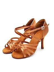 Недорогие -Жен. Танцевальная обувь Шёлк Обувь для латины На каблуках Тонкий высокий каблук Персонализируемая Черный / Коричневый / Выступление / Кожа