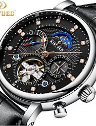 Недорогие -KINYUED Муж. Часы со скелетом Механические часы Swiss Механические, с ручным заводом Натуральная кожа Черный / Коричневый 30 m Защита от влаги Фаза луны Турбийон Аналоговый / Два года / Два года