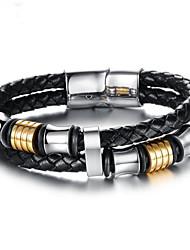 Men's Chain Bracelet Cuban Link Two tone cuff Luxury Rock