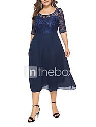 Недорогие -Жен. Большие размеры Праздники На выход С летящей юбкой Платье - Однотонный, Кружева Завышенная Средней длины