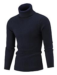 Недорогие -Муж. Однотонный Длинный рукав Пуловер, Хомут Темно синий / Серый / Винный US34 / UK34 / EU42 / US38 / UK38 / EU46 / US40 / UK40 / EU48
