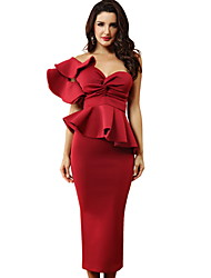 cheap -Women's Sheath Dress - Solid Colored Red L XL XXL