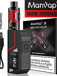 Недорогие -Mnwp&рег; x 100 Вт электронная сигарета Vape Box мод стартовый комплект Топ пополнения паров электронная сигарета Vape испаритель испаритель мод стартовый комплект Vape Pen электронная сигарета
