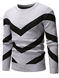 Недорогие -Муж. Однотонный Длинный рукав Пуловер, Круглый вырез Темно синий / Серый / Винный US34 / UK34 / EU42 / US36 / UK36 / EU44 / US38 / UK38 / EU46