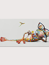 Недорогие -Hang-роспись маслом Ручная роспись - Поп-арт Modern Включите внутренний каркас