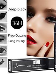 abordables -Pudaier nuevo lápiz delineador de ojos negro resistente al agua, resistente y duradero, lápiz de secado rápido