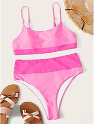 Недорогие -Жен. Классический Богемный Розовый Без лямок Смелые Бикини Купальники - Однотонный С Х-образными бретелями S M L Розовый