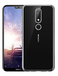 Недорогие -Чехол NASTOP для Nokia Nokia 6 / Nokia 6.1 Plus прозрачная задняя крышка сплошного цвета мягкой ТПУ для Nokia X5 / Nokia 5.1 плюс