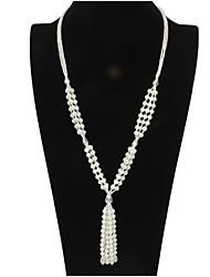 Недорогие -Жен. Жемчуг Жемчужные ожерелья Ожерелье с шармом Коренастый Художественный Элегантный стиль Искусственный жемчуг Белый Черный Кофейный 80+7 cm Ожерелье Бижутерия 1шт Назначение