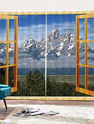 Недорогие -3d цифровая печать декорации уединение полиэстер две панели занавес для наружных / офис водонепроницаемый пыленепроницаемый декоративные шторы